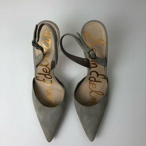 Sam Edelman Gray Leather Slingback Heels size 7.5